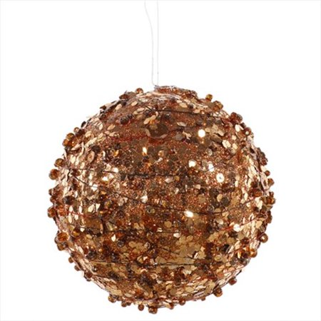 NorthLight 4 inch Copper Sparkle Kissing Christmas Ball Ornament