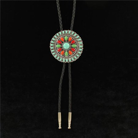 Double S 22106 Large Round Concho Slide Stones Silver Bolo Tie - image 1 of 1