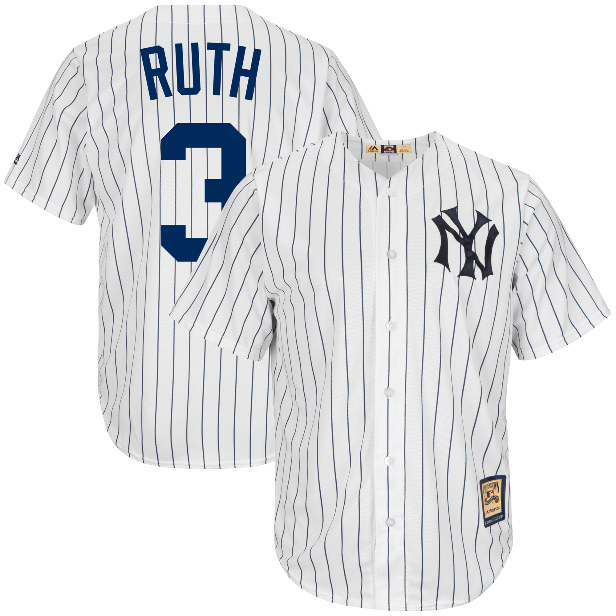 Babe Ruth New York Yankees Majestic Big & Tall Cooperstown Cool Base Player Jersey - White