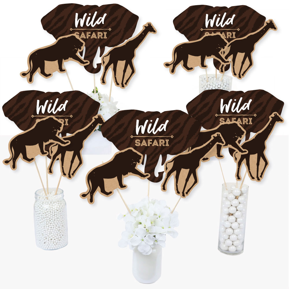 Wild Safari - African Jungle Adventure Birthday Party or Baby Shower Centerpiece Sticks - Table Toppers - Set of 15