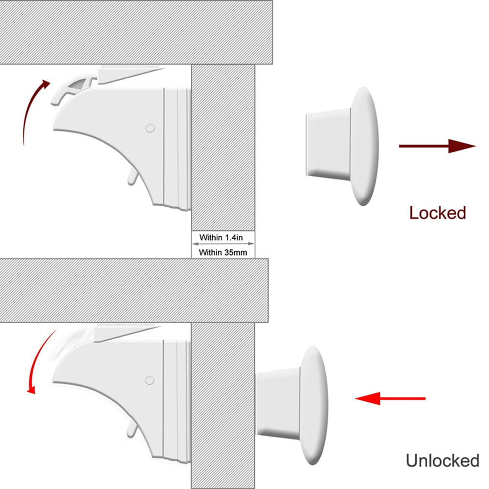 Child Safety Magnetic Proof Cabinet Locks Hidden Cupboard
