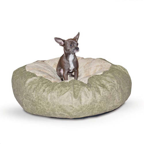 """K&H Pet Products Self Warming Cuddle Ball Pet Bed, Small, Tan, 28"""" x 28"""" x 10"""""""