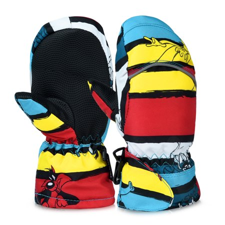 Kids Ski Gloves-Fitbest Kids Ski Gloves Girls Boys Warm Skiing Skating Gloves Waterproof Full Finger Mittens With Fleece Lining for Kids between 2-3 Years Old, Small