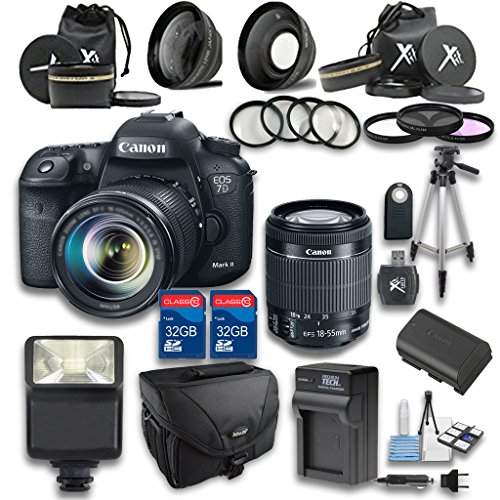Canon 7D Mark II STM DSLR Camera +18-55mm IS STM Lens + Wideangle Lens + Telephoto Lens + 2 PC 32GB Memory Card + 4 PC Macro Bundle + Flash Light + Remote Control - International Version