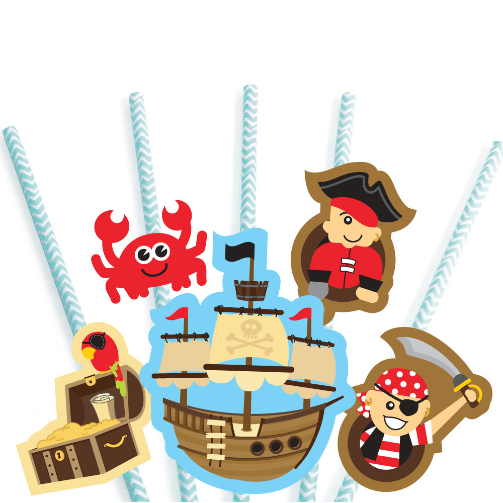 Ahoy Mates! Pirate Paper Straw Decor Baby Shower or Birthday Party Striped Decorative Straws Set of 24 by Big Dot of Happiness, LLC