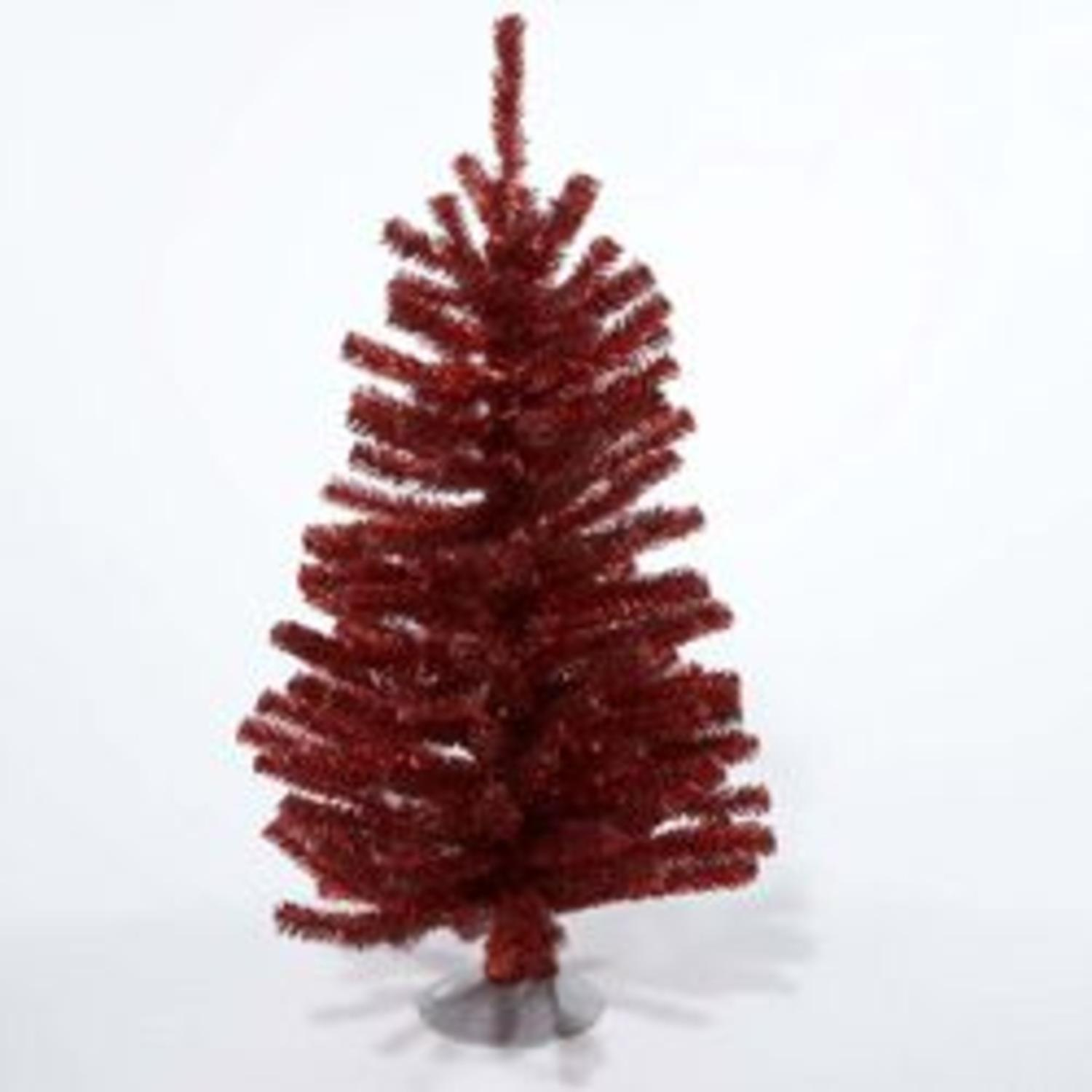 "12"" Sparkling Red Retro Tinsel Table Top Christmas Tree - Unlit"