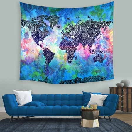 Vintage World Map Cosmos Galaxy Polyester Wall Tapestry Home Living Decor Space