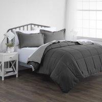 Noble Linens Premium Down Alternative Reversible 3-Piece Comforter Set, Full/Queen, Gray