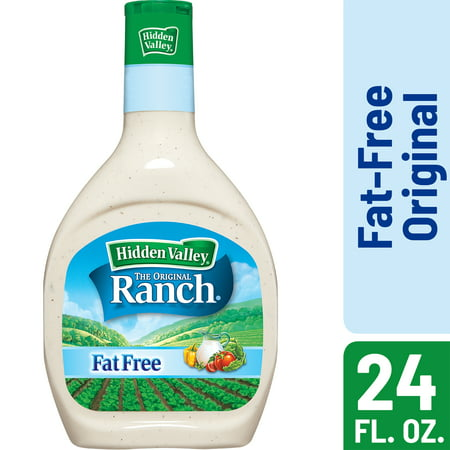 (2 Pack) Hidden Valley Original Ranch Fat Free Salad Dressing & Topping, Gluten Free - 24 Oz Bottle