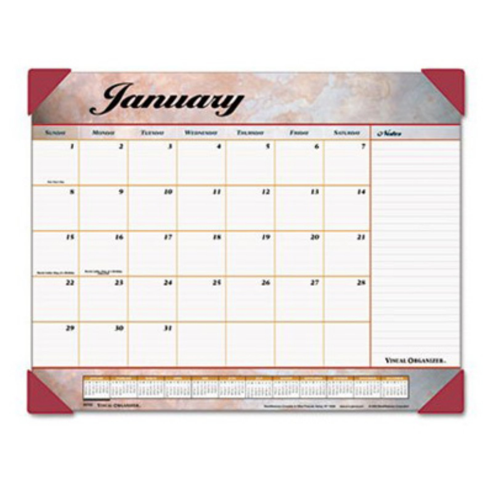 AT-A-GLANCE Visual Organizer Recycled Marbled Desk Pad, 22 x 17, Burgundy 89702-10