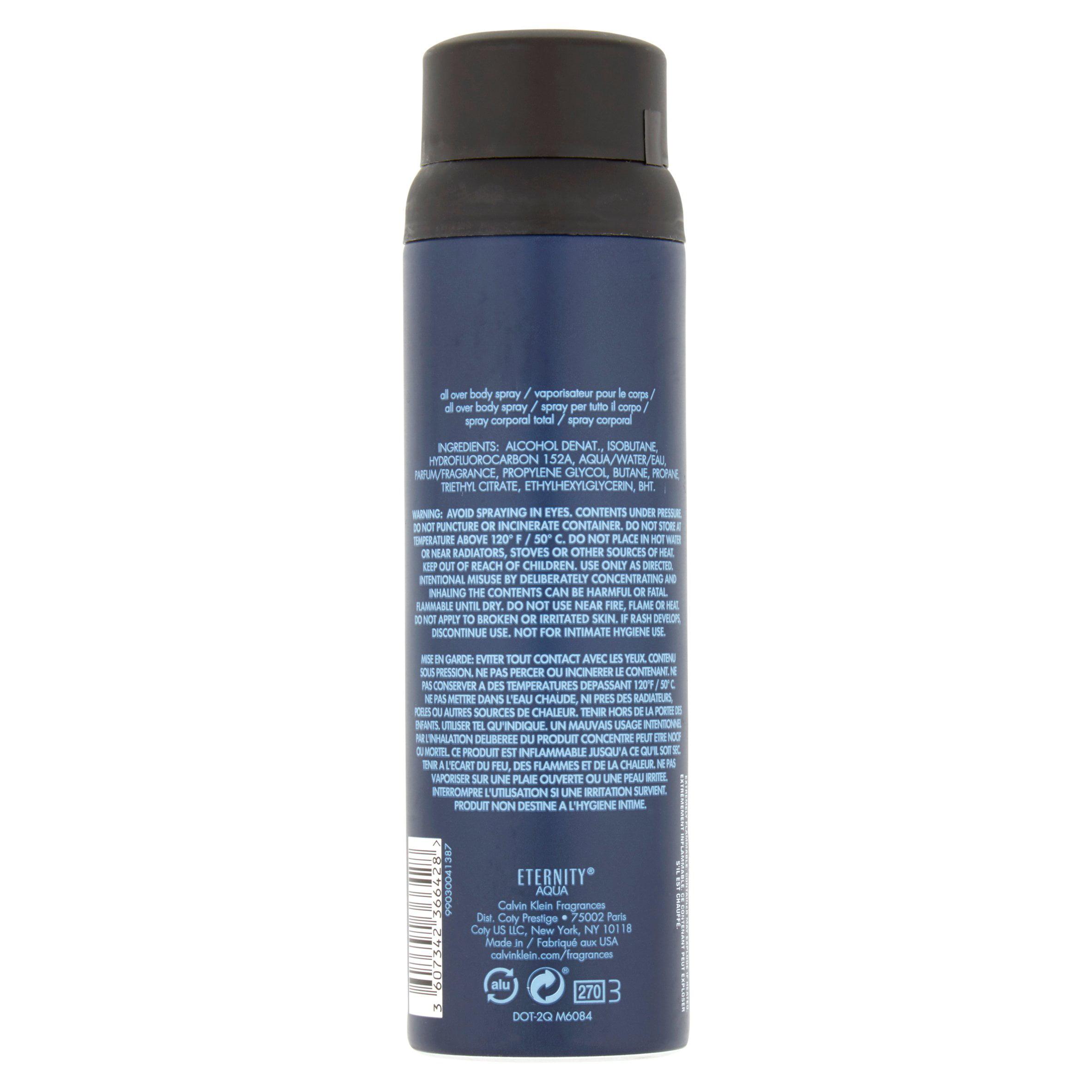 Calvin Klein Aqua Eternity for Men All Over Body Spray, 5.4 oz ...