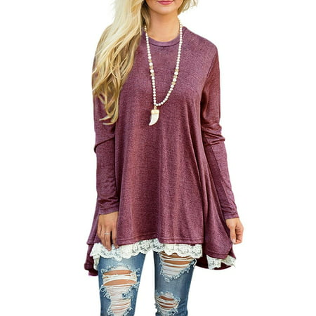 Fashion Long Sleeve Lace Hem Patchwork Loose S-5XL Plus Size Tops for Women (Mesh Hem Lace)
