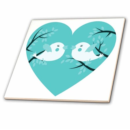 3dRose Two Cute Turquoise Birds On A Tree In A Heart - Ceramic Tile, 4-inch