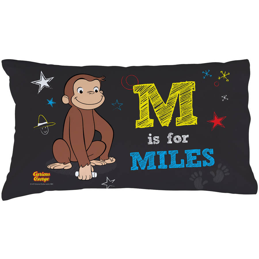 Personalized Curious George Initial Pillowcase