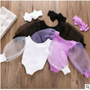 Newborn Baby Girls Floral Mesh Puff Long Sleeve Bodysuits Outfits Solid Color Ballet Jumpsuits with Bow Headband