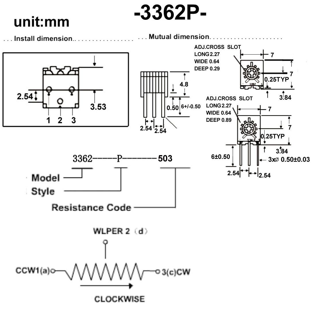 Resistors 50k Ohm Top Adjustment Horizontal Cermet Potentiometer 2 Pcs - image 2 of 6