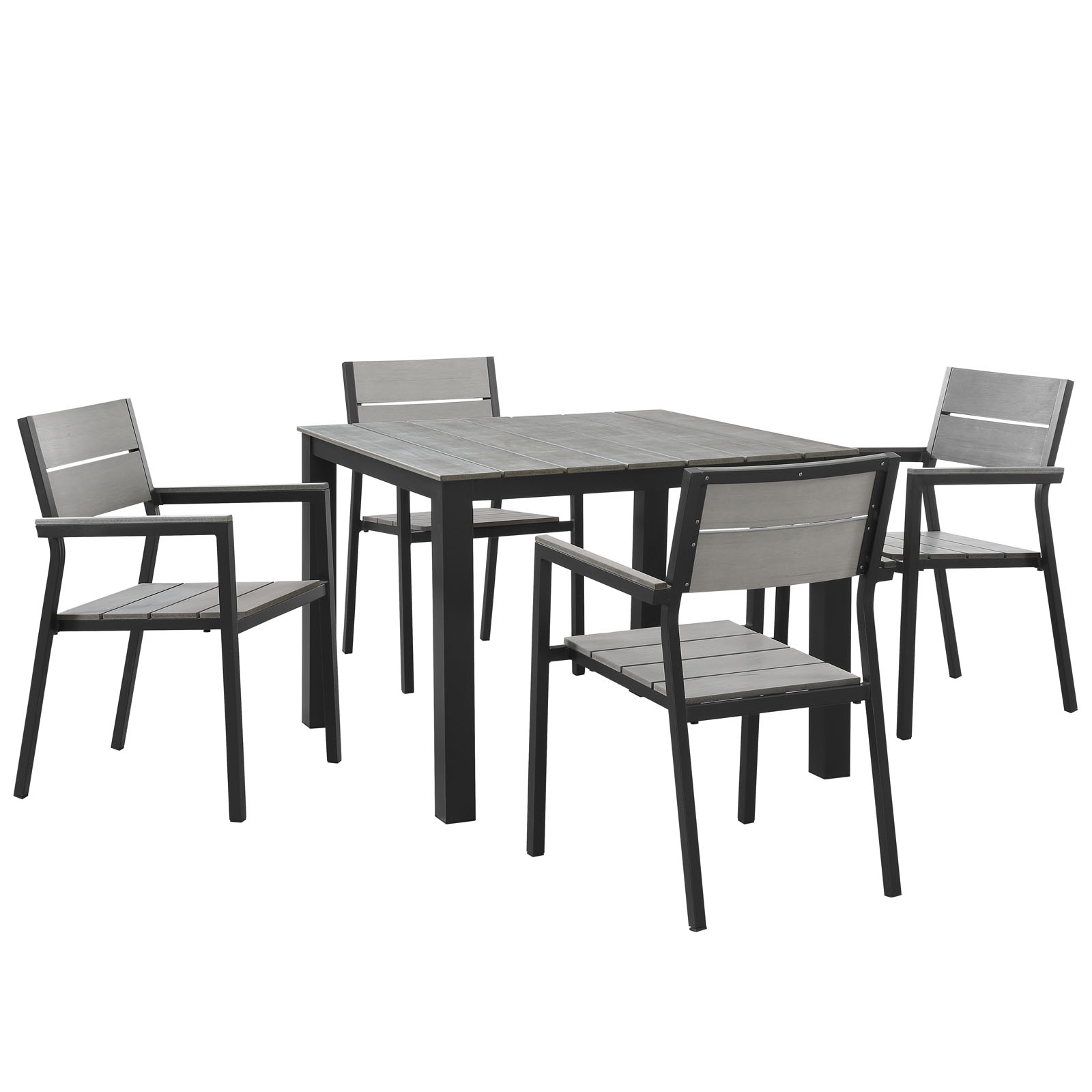 Modern Contemporary Five PCS Outdoor Patio Dining Room Set, Grey, Polywood, Aluminum by