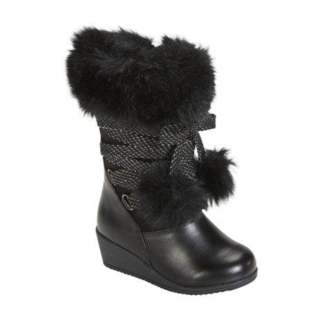 - Canyon River Blues Toddler Girls Black Fashion Boots with Faux Fur Trim