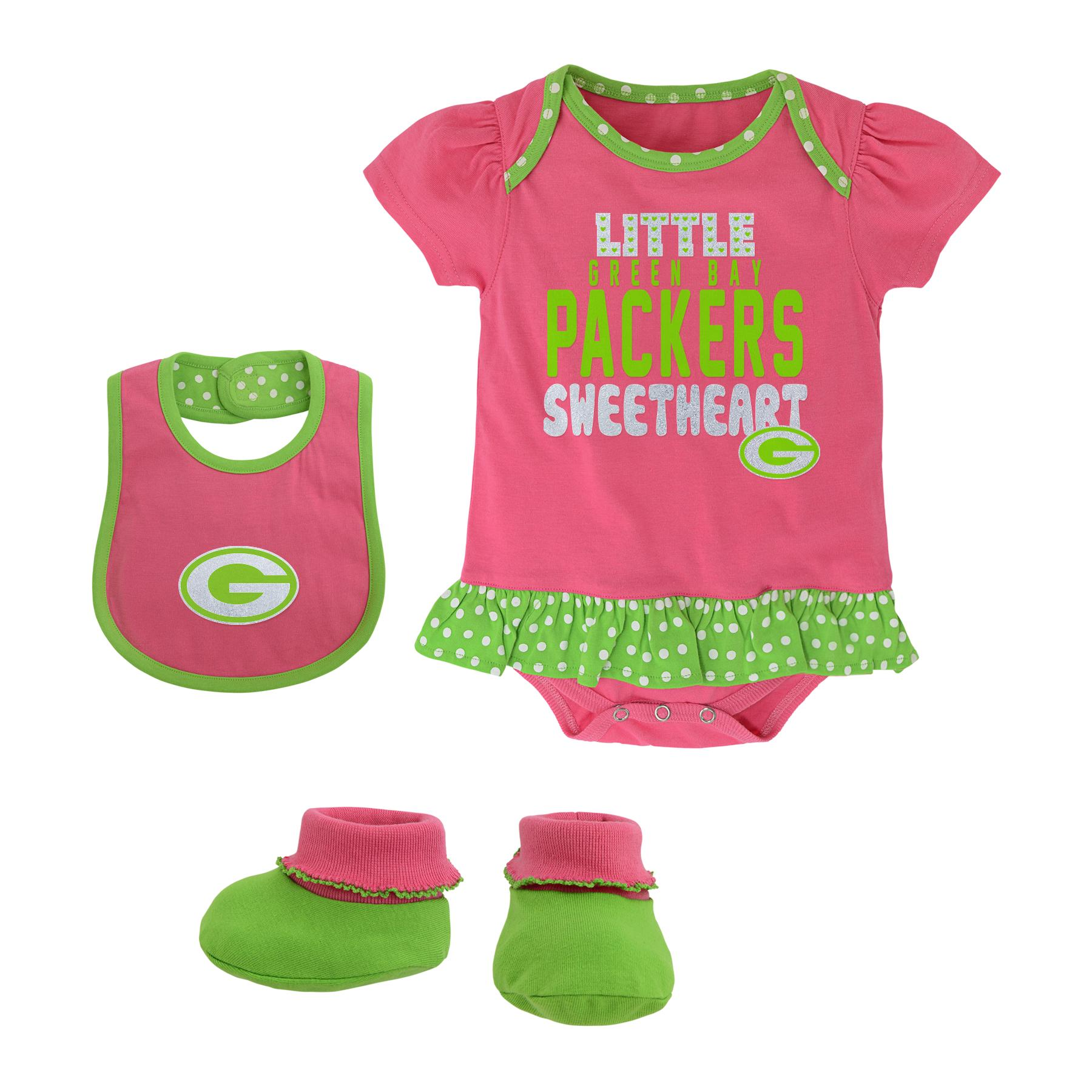 Green Bay Packers Toddler Pink Creeper Set