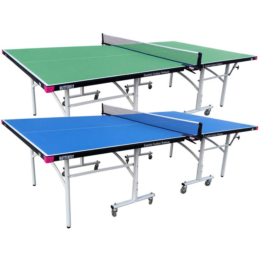 Butterfly Easifold Outdoor Rollaway Table Tennis Table, Blue