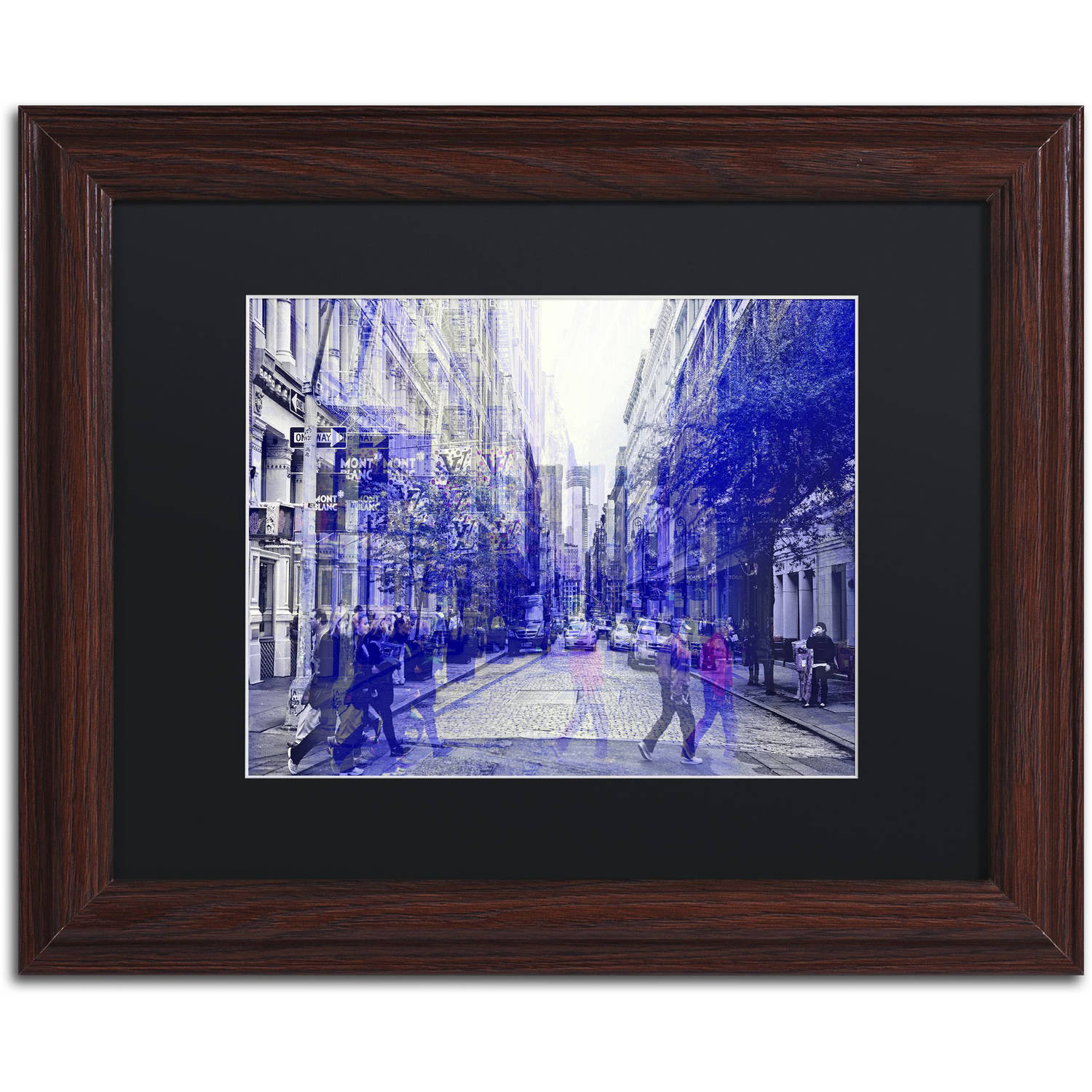 "Trademark Fine Art ""Urban Vibrations Soho"" Canvas Art by Philippe Hugonnard, Black Matte, Wood Frame"