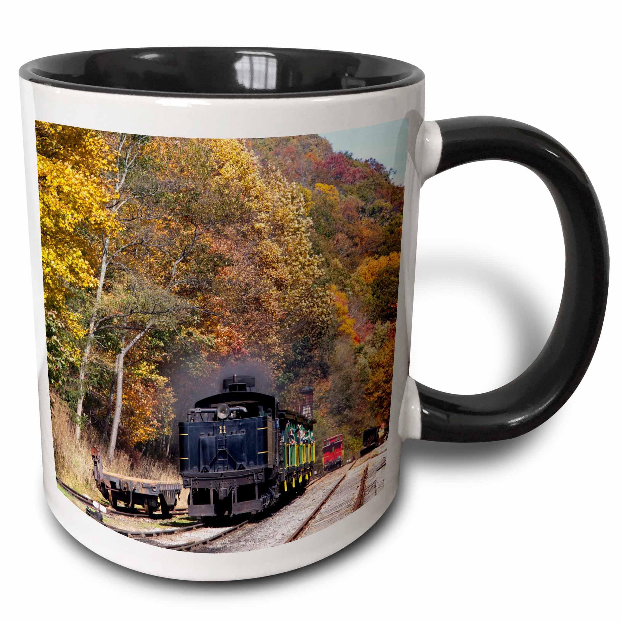 3dRose West Virginia, Cass Scenic Railroad, Steam train - US49 WBI0030 - Walter Bibikow, Two Tone Black Mug, 11oz