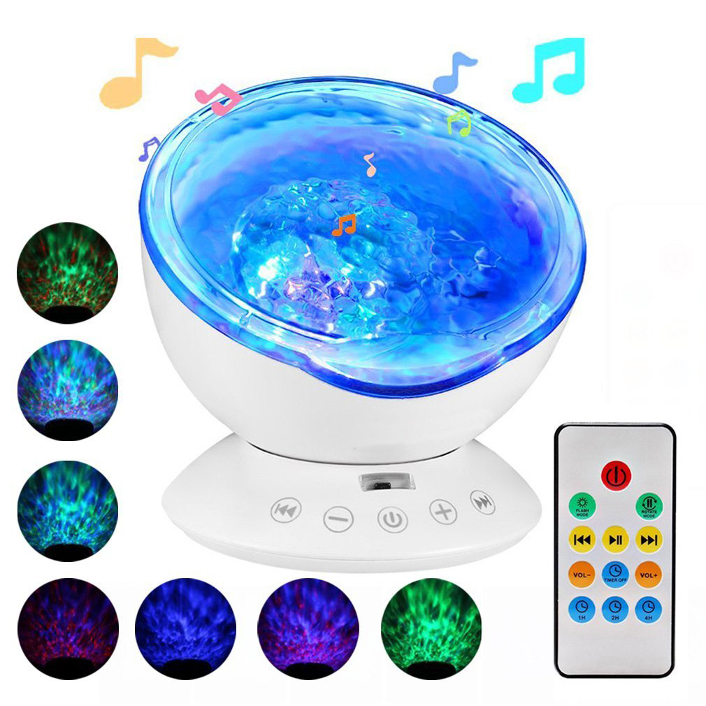 Ocean Wave Projector, LED Remote Control Undersea Projector Lamp, 7 Color Changing Music Player Night Light Projector for Baby Kids Adults Bedroom Living Room Decoration(White)