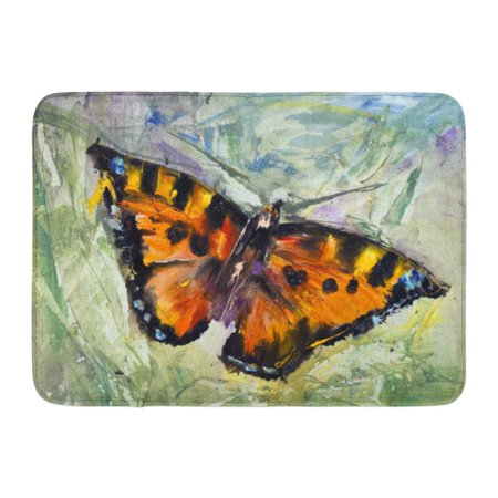 GODPOK Butterfly on The Grass Oil Canvas Modern Contemporary Watercolor Painting Pictorial Russian Trend Rug Doormat Bath Mat 23.6x15.7 inch