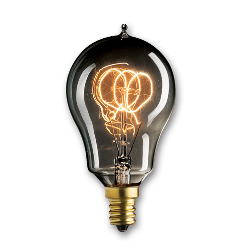 25 Watt Nostalgic Edison A15 Bulb Vintage Loop Filament Candelabra Base Smoke , Case of 20