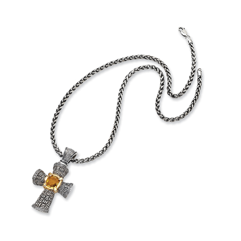 St. Silver 14k Yellow Diamond Citrine Cross 18 Inch Necklace by