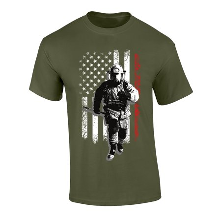 Image of Fireman USA Flag Adult Unisex Short Sleeve T-Shirt-Military Green-Small