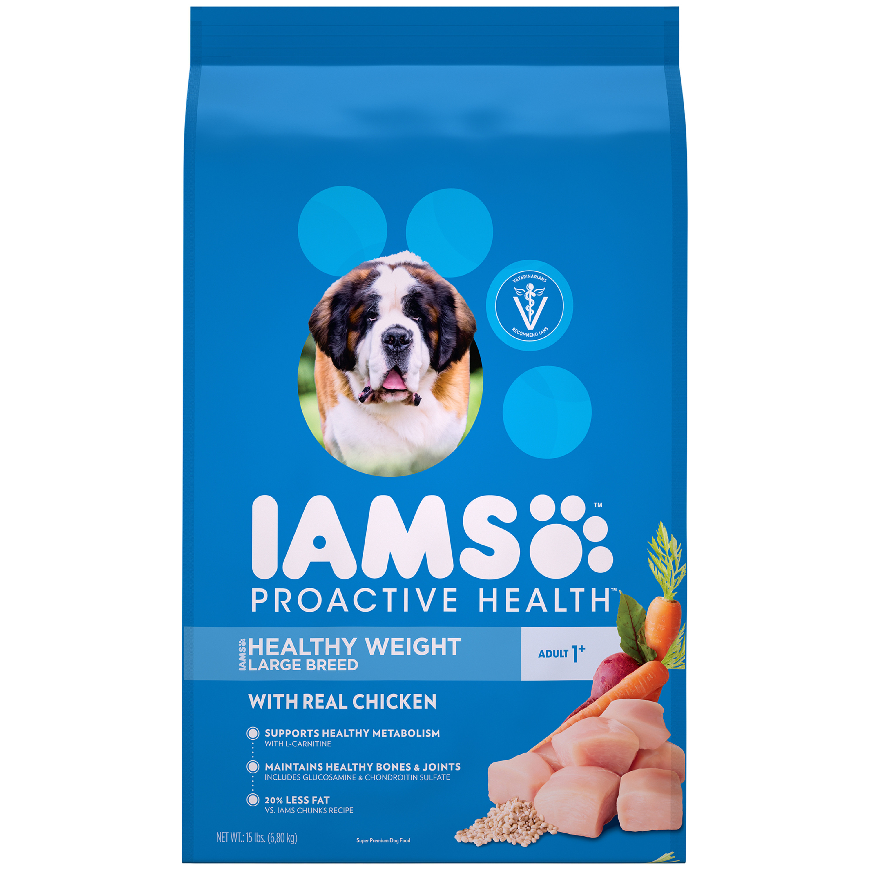 Iams Proactive Health Large Breed Healthy Weight Dry Dog Food, Chicken, 15 Lb Bag