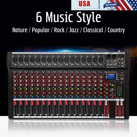 16-Channel Digital Audio Sound Mixer Mixing Amplifier Console with USB Phantom Power Equalizer bluetooth for Recording DJ Stage Karaoke Music Appreciation , 4000 Watts