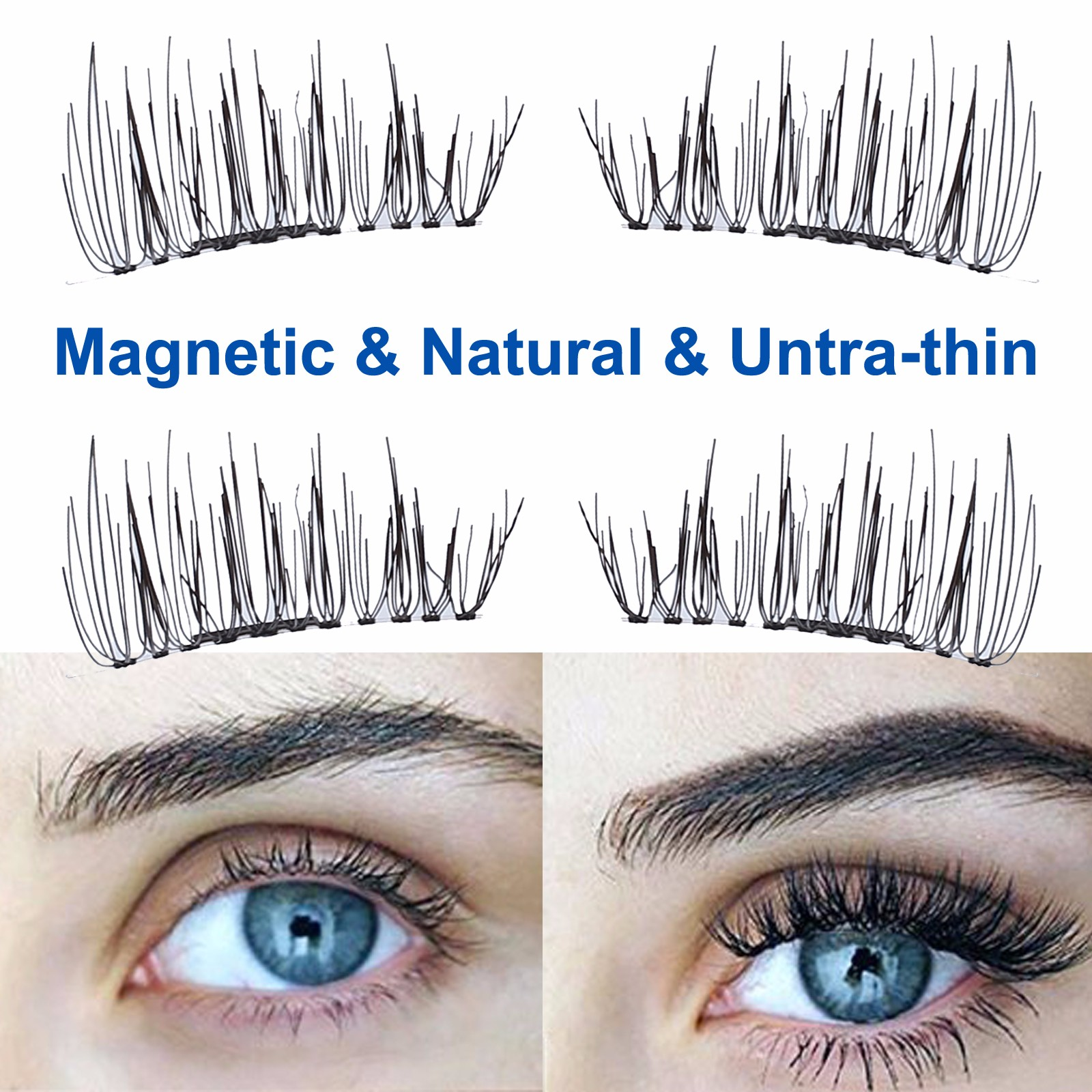 4Pcs Magnetic Eyelashes 3D Magnetic False Eyelashes Ultra Thin Natural Eye Lashes Extension Lightweight Natural Thick Eye Lashes Handmade False Eyelashes Tool + Case