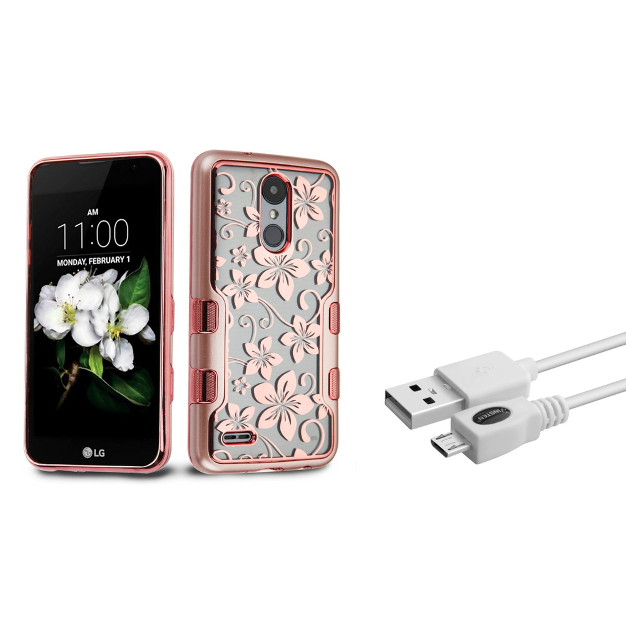Insten Tuff Panoview Hibiscus Flower Dual Layer Hybrid PC/TPU Rubber Transparent Case Cover With Diamond For LG K8 (2018)/Zone 4 - Rose Gold (Bundle with Micro USB cable)