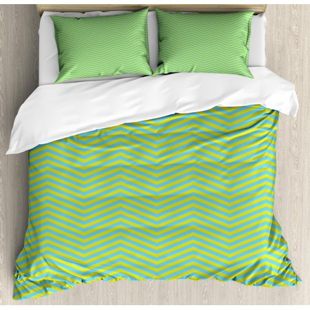 Geometric Duvet Cover Set, Chevron Pattern Wavy Stripes Zigzag Lines Abstract Ornamental Illustration, Decorative Bedding Set with Pillow Shams, Yellow Green Blue, by Ambesonne ()