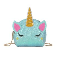 AkoaDa Kids Cute Rainbow Unicorn Crossbody Purse Sequins Shoulder Bag Gift for Little Girls