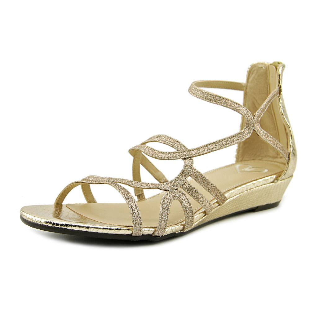 Madeline Sizzle Women Open Toe Synthetic Gold Gladiator Sandal by Madeline
