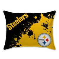 Pittsburgh Steelers Splatter Plush Bed Pillow - Black