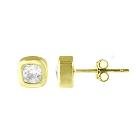 - GOLD PLATED OVER STERLING SILVER CZ BEZEL SET T SQUARE SHAPE STUD EARRINGS