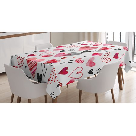 Valentine Tablecloth, Different Types of Heart Shapes Romance In Love Theme Watercolor Striped Art, Rectangular Table Cover for Dining Room Kitchen, 60 X 84 Inches, Red Pink Black, by Ambesonne - Valentine Tablecloth