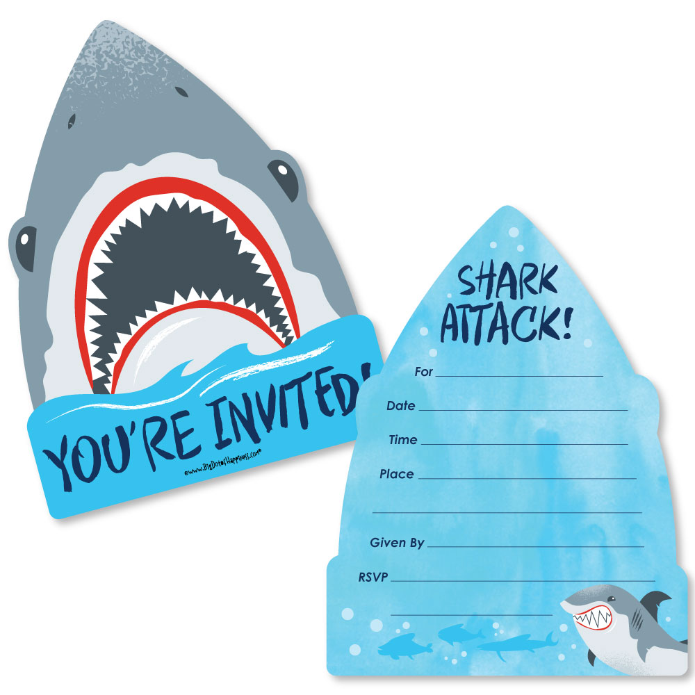 Shark Zone - Shark Week Party - Shaped Fill-In Invitations - Jawsome Shark Party or Birthday Party -Set of 12