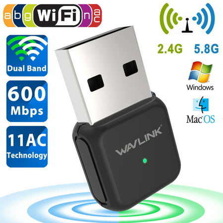Mini 600 Mbps Dual Band 2.4/5Ghz Wireless USB WiFi Network Adapter Dongle w/Antenna 802.11ac-Wavlink