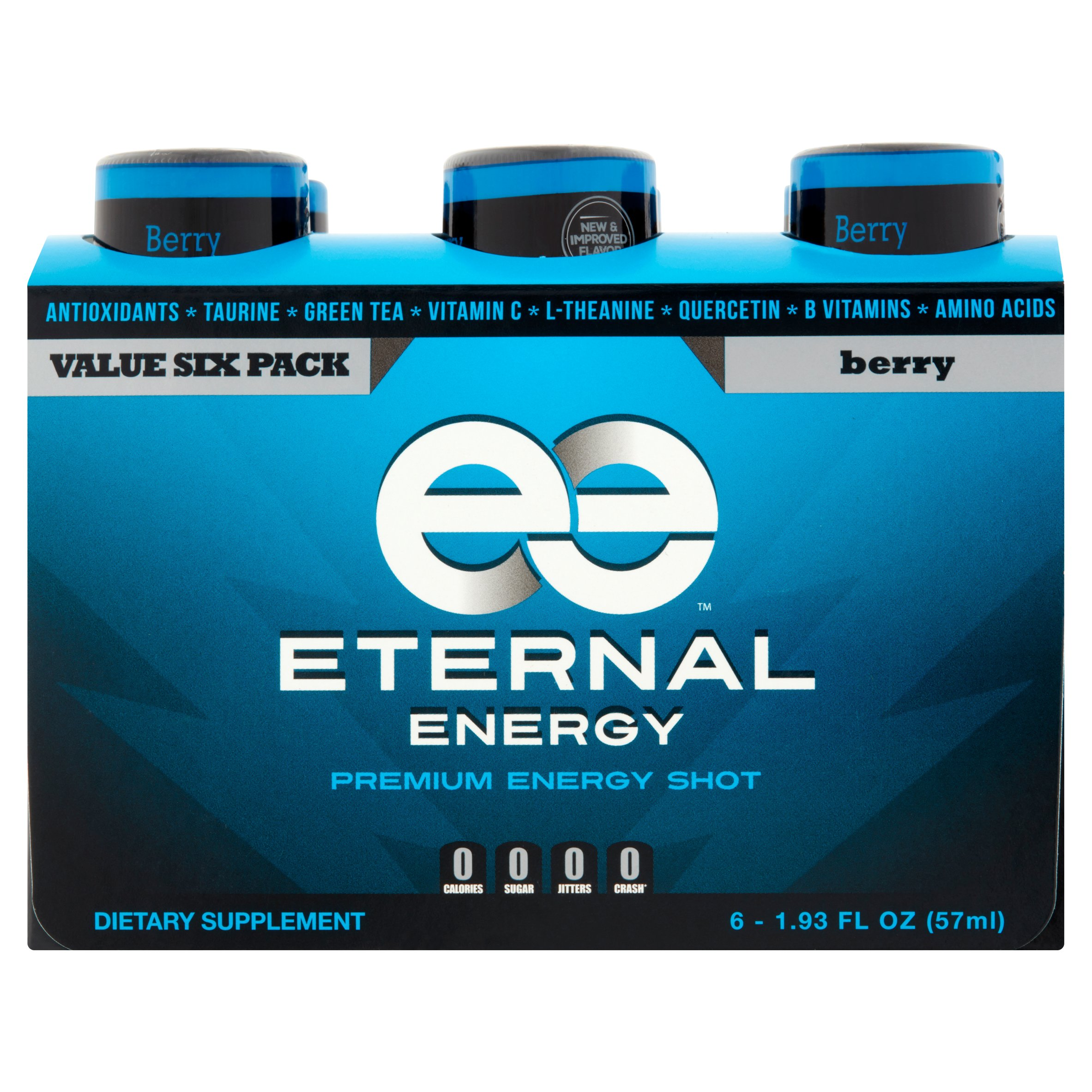 Eternal Energy Premium Energy Shot, Berry, 1.93 Fl Oz, 6 Ct