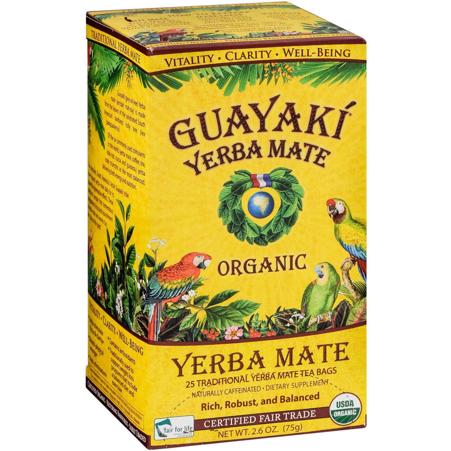 Guayaki Yerba Mate Traditional Yerba Mate Tea Dietary Supplement, 25 count, 2.6 oz, (Pack of 3)