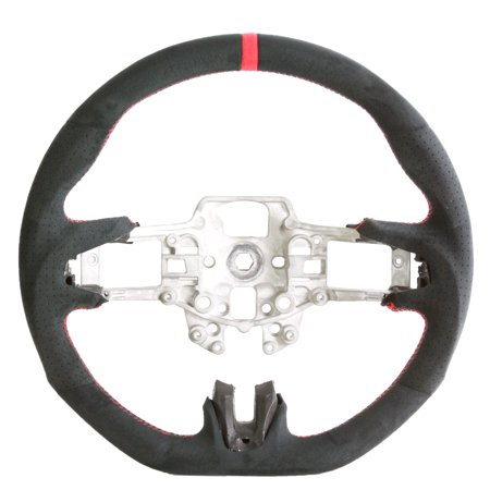 Handkraftd 2015-2017 Ford Mustang Steering Wheel - Black Alcantara w/Red Stitch