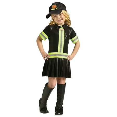 Fire Chief Fighter Woman Fireman Dress Child Girls Toddler Halloween Costume](Toddler Fireman Costumes)