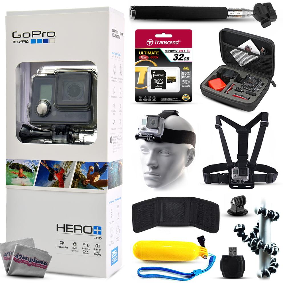 GoPro HERO+ LCD CHDHB-101 with 32GB Ultra Memory + Premium Case + Head Strap + Selfie Stick + Chest Harness + Flexible Tripod + Floaty Bobber + MicroSD Card Reader + More