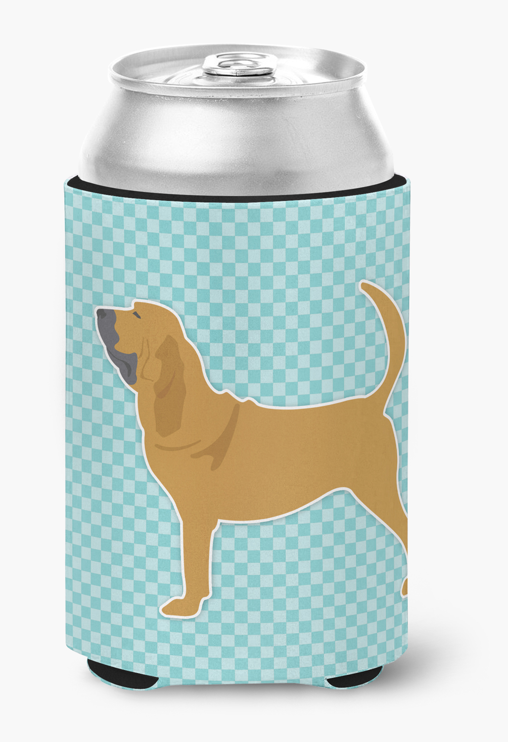 Bloodhound Checkerboard Blue Can or Bottle Hugger by Caroline's Treasures