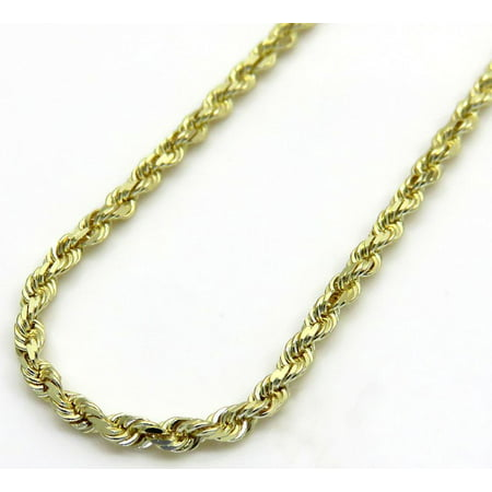 10K Yellow Solid Gold Men Womens 2MM Diamond Cut Rope Chain Necklace Lobster Clasp 16 to 22 Inches